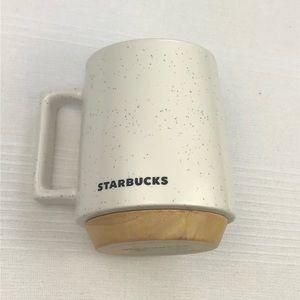 Starbucks Wood Base Stoneware Coffee Mug 16 oz